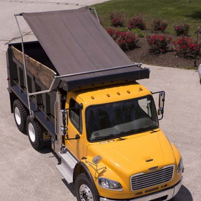 Aero Easy Cover flip tarp system on a yellow dump truck