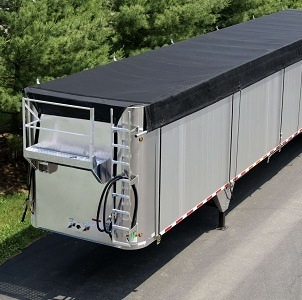 Aero Ratchet Side Roll System installed on a transfer trailer.