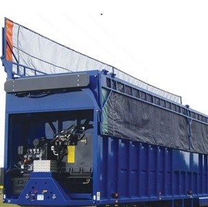 Donovan Double Flip, Transfer Trailer Tarp System on a Blue Trailer