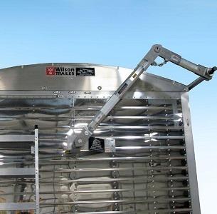 Mountain Tarp, Lockdown, Electric Side Roll System on a Grain Trailer