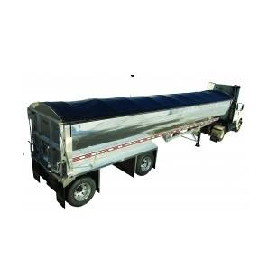 Mountain Tarp Side Roll System with a Black Vinyl Tarp installed on and aluminum end dump trailer