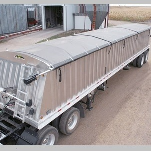 Shur Co, 4500HD Electric Side Roll Tarp System on an aluminum end dump trailer