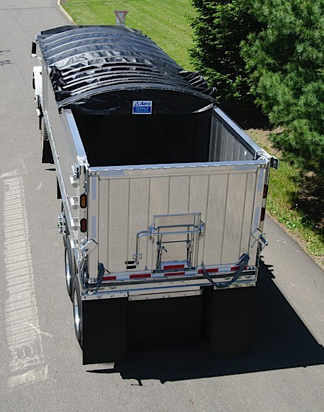 Aero, Crank-N-Go III, cable tarp system partially deployed on an aluminum dump trailer