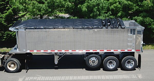 Aero, Crank-N-Go III cable tarp system installed on an aluminum dump trailer