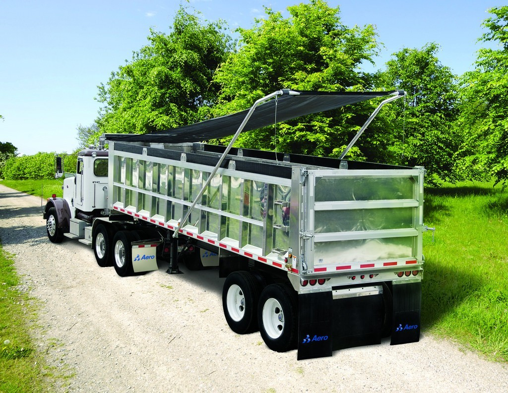 Aero Easy Cover model 450 manual or 550 electric flip tarp system installed on an aluminum trailer.