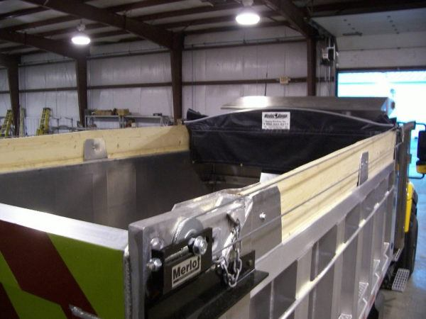 Merlot Panel Tarp, cable tarp system installed on a dump truck.
