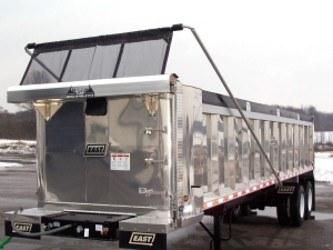 Mountain Tarp, coal bucket tarp system with aluminum swing arms.