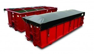 Mountain Tarp, Container Side Roll System on a red roll off can, shown uncovered and covered.