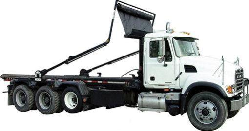 Pioneer Model 4500 rack-n-pinion automatic tarper on a tri axle hoist lift roll off truck.