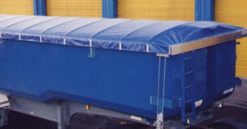 Pulltarps Super Slider cable tarp system with a blue vinyl tarp on a end dump trailer.