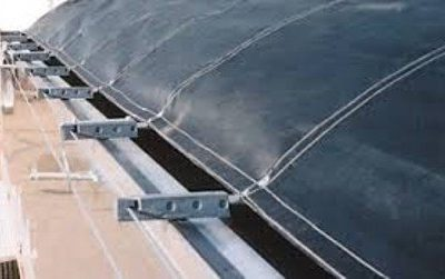 Shur Co, Cover Pro II cable tarp system with vinyl short stop tarp and molded plastic bow ends.