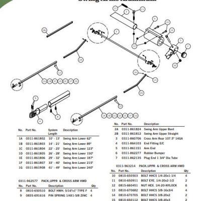 Aero Easy Cover Aluminum Swing Arm Part Numbers