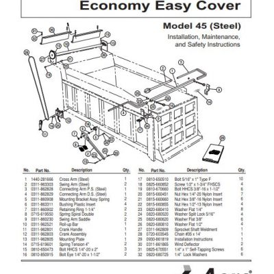 Aero Economy Easy Cover Model 40 Parts Guide