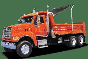 Pioneer EDD1500 electric flip tarp system on a tandem axle dump truck.