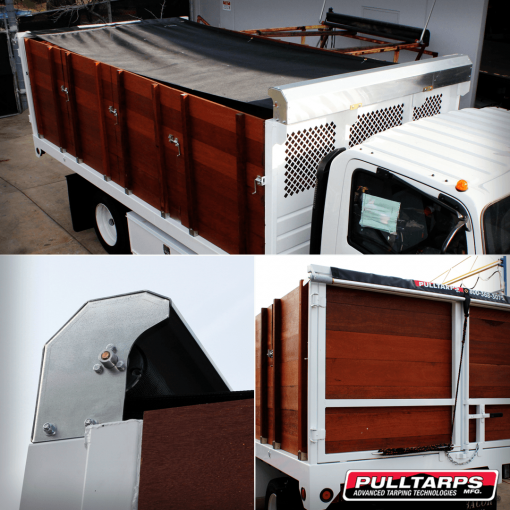 Pulltarps Steel Protector Plus system installed on a single axle box body with wood sides