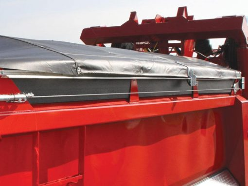 Shur Co Shur Trak II Cable Tarp System Deployed on a red dump body