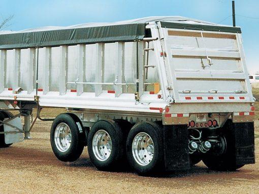 Shur Co PBR side roll tarp system installed on an end dump trailer