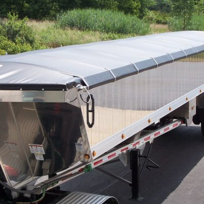 Shur co, Shur-Lok side roll tarp system installed on an end dump trailer