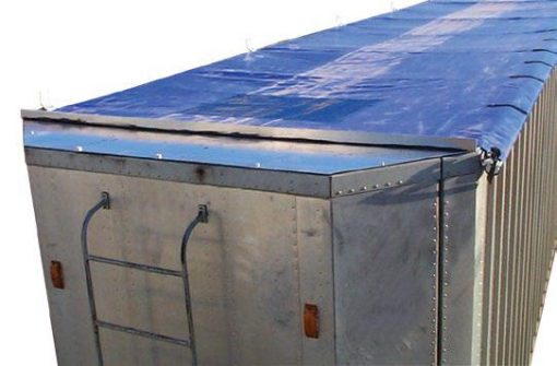 Mountain Tarp, Lock-N-Roll on an aluminum transfer trailer