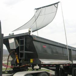 Mountain Tarp, flip tarp system for trailers over 29' long, top mount installation.