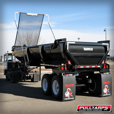 Pulltarps flip tarp system on a half round trailer
