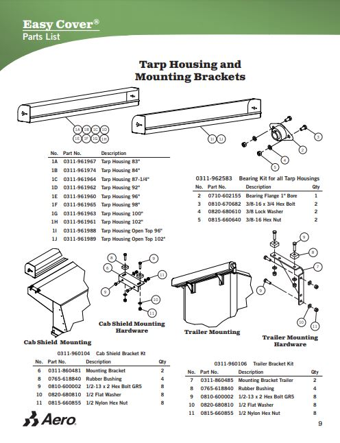 Truck Tarp Undermount Spring Arm End for Aluminum Tarp Arms Part#0311-864103