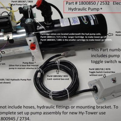 Part# 1800850, old PN# 2532 Electric Hydraulic pump assemly for Donovan HY-Tower Tarp System, 12 Volt