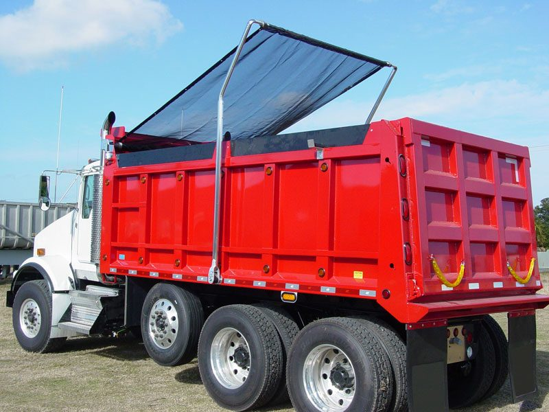 Donovan Bullet flip tarp system installed on a short bed dump truck