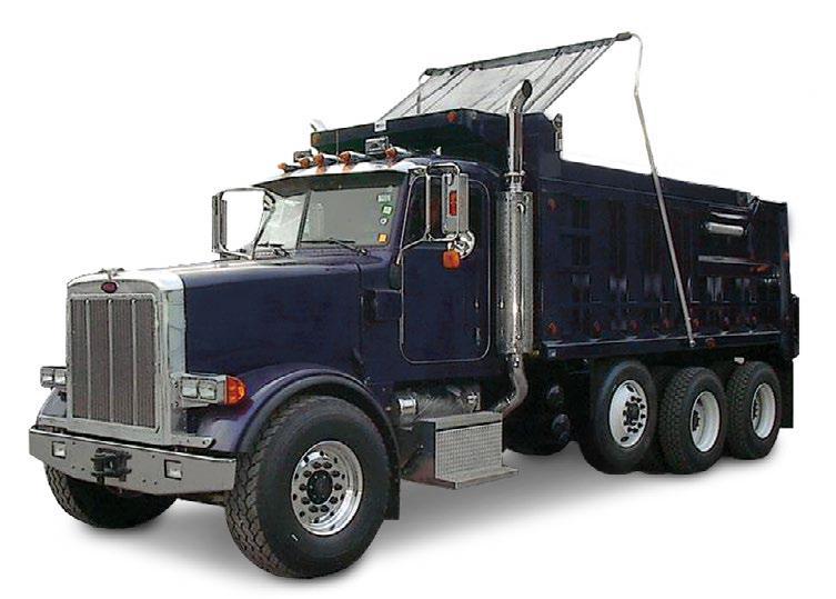 Mountain Tarp Model KDE Electric Flip Tarp System installed on a tri-axle dump truck
