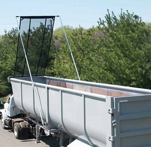 Aero Easy Cover Model 595 Flip Tarp sytem installed on a half-round scrap trailer.