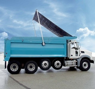 Aero Easy Cover, Models 465 and 565, installed on a blue dump truck
