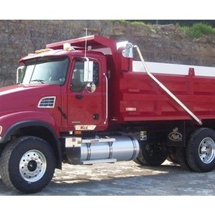 Stealth Flip Tarp System installed on Red Dump Truck