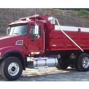 Stealth Flip Tarp System installed on Red Dump Truck