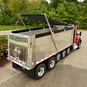 Aero Force F2B Tarp System on multi axle dump truck