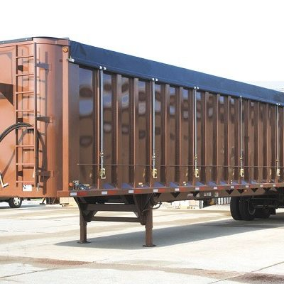Donovan Belt and Ratchet Side Roll Tarp System on Steel Waste Trailer